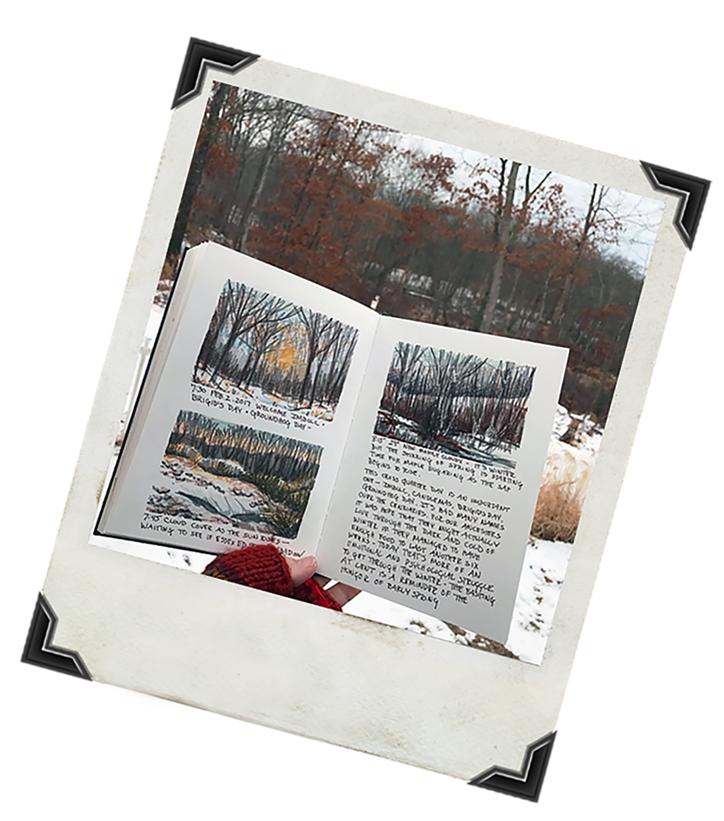 Biggerwinter sketching outside with photoframe