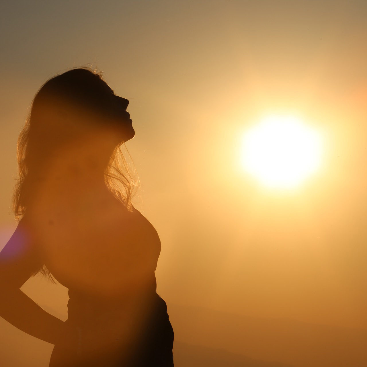 woman and sun